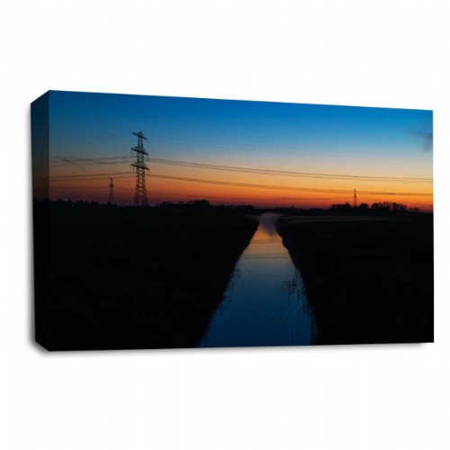 Sunset Landscape Wall Art Picture Orange Gold River Print